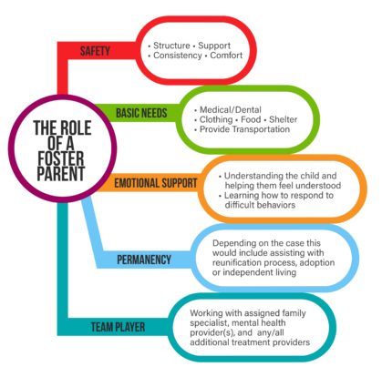 Diagram showing the different roles a foster parent plays