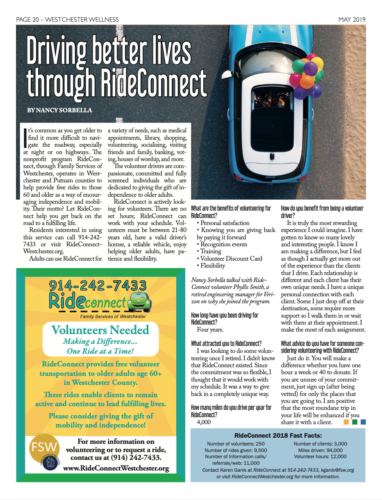 Photo of an article about RideConnect in Westchester Wellness magazine