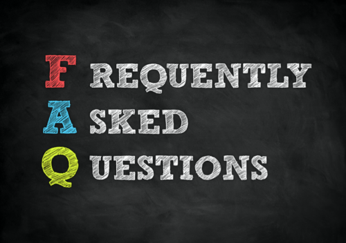 Blackboard with chalk lettering that says FAQ frequently asked questions
